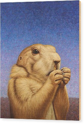 Prairie Dog Wood Print by James W Johnson