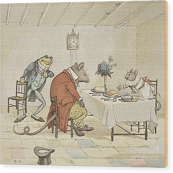Pray Miss Mouse Will You Give Us Some Beer Wood Print by Randolph Caldecott