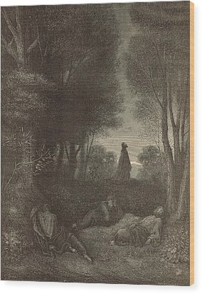 Prayer Of Jesus In The Garden Of Olives Wood Print by Antique Engravings