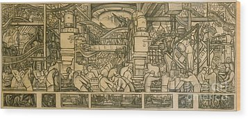 Presentation Drawing Of The Automotive Panel For The North Wall Of The Detroit Industry Mural Wood Print by Diego Rivera