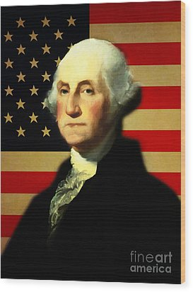 President George Washington V3 Wood Print by Wingsdomain Art and Photography