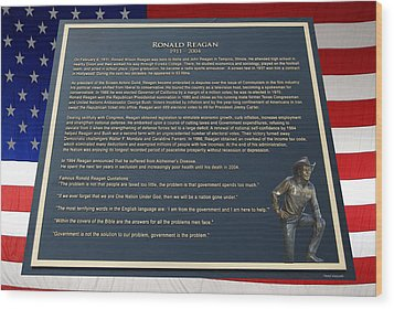 President Ronald Reagan Plaque Wood Print by Thomas Woolworth