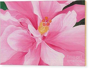 Pretty Pink Hibiscus Painting Wood Print by Lisa Bentley