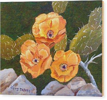 Prickley Pear Cactus Wood Print by Janis  Tafoya
