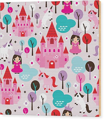 Princess And Unicorns Illustration For Kids Wood Print by Little Smilemakers Studio
