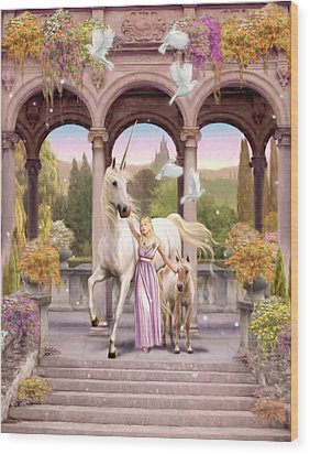 Princess Of The Unicorns Variant 1 Wood Print by Garry Walton