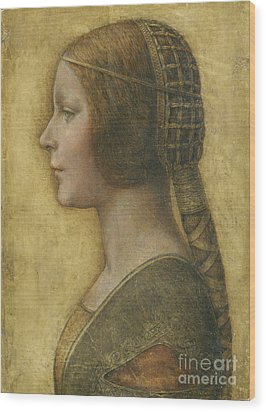 Profile Of A Young Fiancee Wood Print by Leonardo Da Vinci
