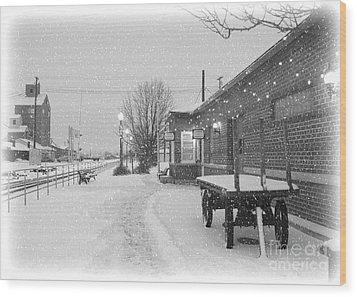 Prosser Winter Train Station  Wood Print by Carol Groenen