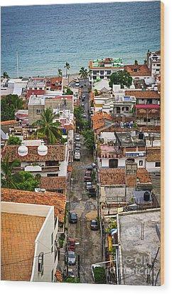 Puerto Vallarta Street Wood Print by Elena Elisseeva