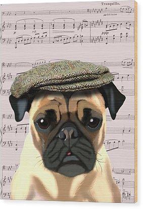 Pug In A Flat Cap Wood Print by Kelly McLaughlan