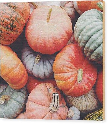 Pumpkins Galore Wood Print by Kim Fearheiley