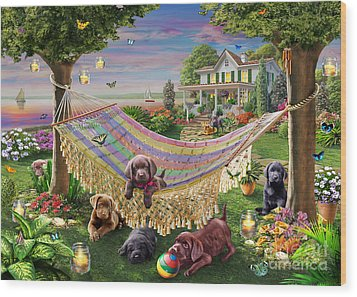 Puppies And Butterflies Wood Print by Adrian Chesterman