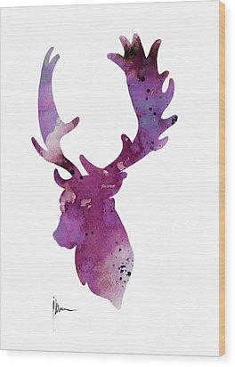 Purple Deer Head Silhouette Watercolor Artwork Wood Print by Joanna Szmerdt