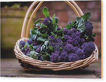 Purple Sprouting Broccoli Wood Print by Aberration Films Ltd