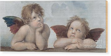 Putti Detail From The Sistine Madonna Wood Print by Raphael