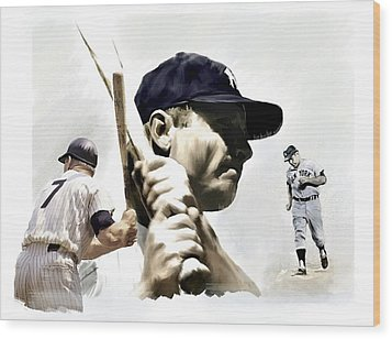 Quality Of Greatness Mickey Mantle Wood Print by Iconic Images Art Gallery David Pucciarelli