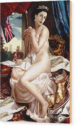 Queen Elizabeth II Nude Portrait Wood Print by Karine Percheron-Daniels