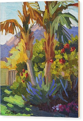 Queen Palms Wood Print by Diane McClary