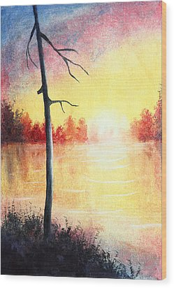 Quiet Evening By The River Wood Print by Nirdesha Munasinghe