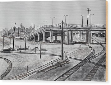 Quiet West Oakland Train Tracks With Overpass And San Francisco  Wood Print by Asha Carolyn Young