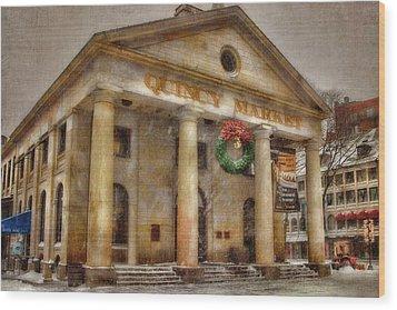Quincy Market Snow 2 Wood Print by Joann Vitali