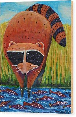 Raccoon Fishing Wood Print by Harriet Peck Taylor
