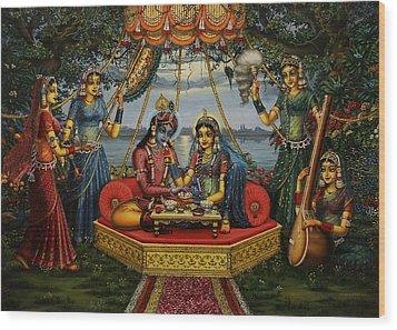 Radha Krishna Taking Meal   Wood Print by Vrindavan Das