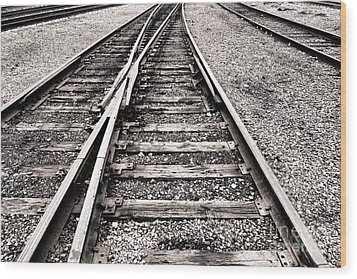 Railroad Switch Wood Print by Olivier Le Queinec