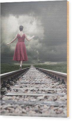 Railway Tracks Wood Print by Joana Kruse