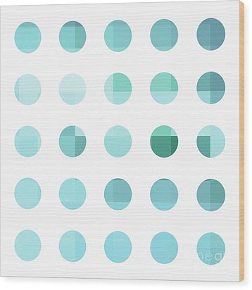 Rainbow Dots Aqua  Wood Print by Pixel Chimp