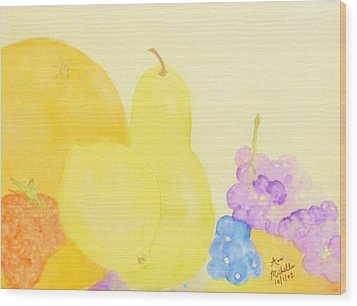 Rainbow Fruits And The Floating Lemon Wood Print by Ann Michelle Swadener