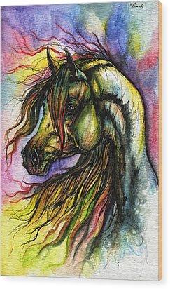 Rainbow Horse 2 Wood Print by Angel  Tarantella