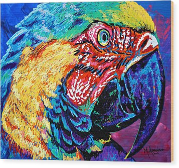 Rainbow Macaw Wood Print by Maria Arango