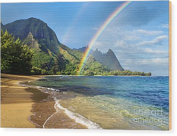 Rainbow Over Haena Beach Wood Print by M Swiet Productions