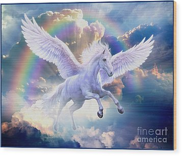 Rainbow Pegasus Wood Print by Jan Patrik Krasny