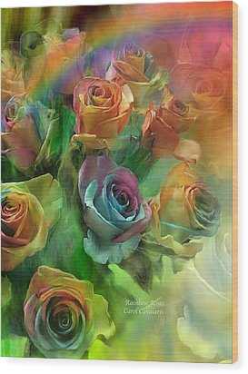 Rainbow Roses Wood Print by Carol Cavalaris