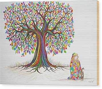 Rainbow Tree Dreams Wood Print by Nick Gustafson