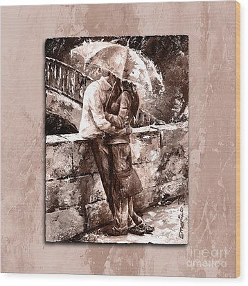 Rainy Day - Love In The Rain Style Mistyrose Wood Print by Emerico Imre Toth