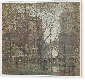 Rainy Day Madison Square New York Wood Print by Paul Cornoyer