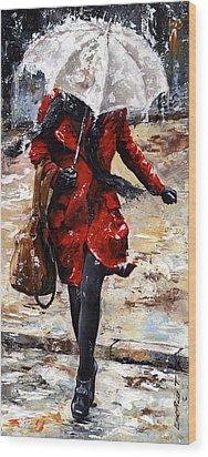 Rainy Day - Woman Of New York 10 Wood Print by Emerico Imre Toth