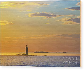 Ram Island Lighthouse Casco Bay Maine Wood Print by Diane Diederich