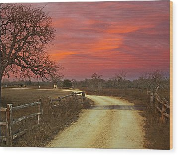 Ranch Under A Blazing Sky Wood Print by James Granberry