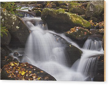 Rapids At Autumn Wood Print by Andrew Soundarajan