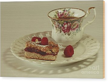 Raspberry Almond Square And Herbal Tea  Wood Print by Inspired Nature Photography Fine Art Photography
