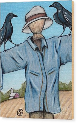 Ravens -- Like They Think This Will Work... Lol Wood Print by Sherry Goeben