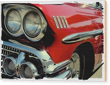 Red 1958 Chevrolet Impala Wood Print by David Patterson