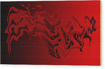 Red And Black Abstract Art In Digital Art Wood Print by Mario Perez