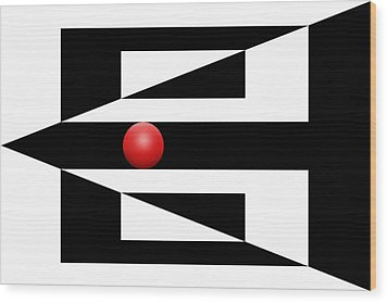 Red Ball 3 Wood Print by Mike McGlothlen