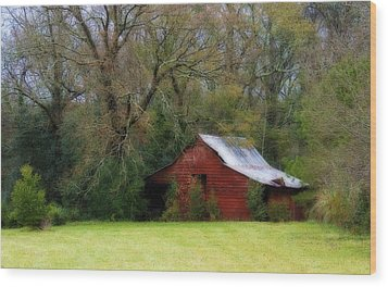 Red Barn Wood Print by Steven Richardson