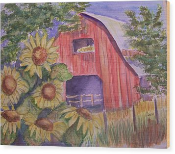 Red Barn With Sunflowers Wood Print by Belinda Lawson